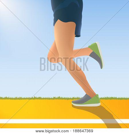 Running Man. Vector Illustration. Marathon. Cardio Workout In The Fresh Air.