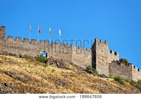 Tourbillon Castle At Hill In Sion Valais Of Switzerland