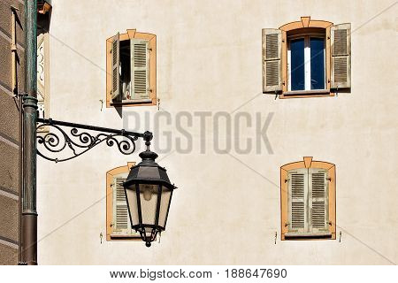 Street Lantern And Building Architecture In Sion Valais Switzerland
