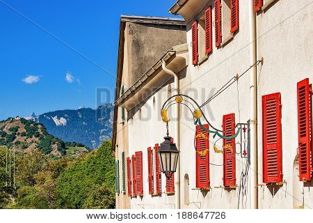 Street Lantern And Building Architecture At Sion Valais Switzerland