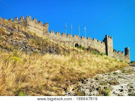 Stone Walls Of Tourbillon Castle At Sion Valais Of Switzerland