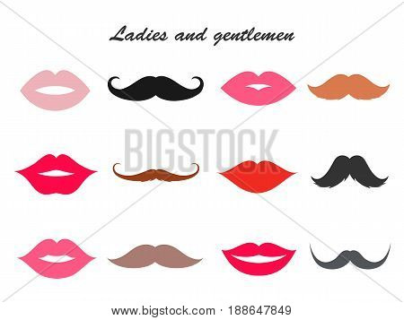 Ladies and gentleman lips and mustache set, bushy, thin and handlebar, pink and red lipstick collection. Vector flat style illustration isolated on white background