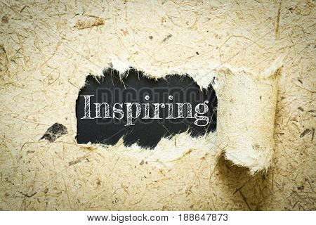 Text Inspiring on paper black has Mulberry paper background you can apply to your product.