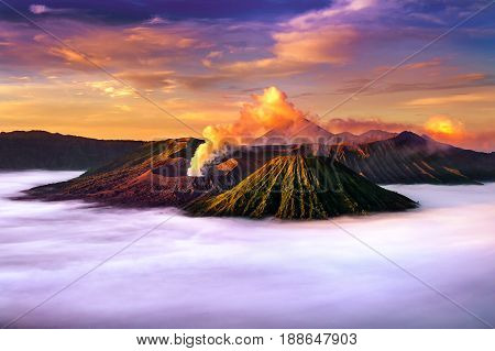 Mount Bromo Volcano (gunung Bromo) During Sunrise From Viewpoint On Mount Penanjakan In Bromo Tengge
