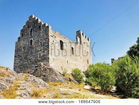 Stone Ruins of Tourbillon castle at Sion Canton Valais Switzerland.