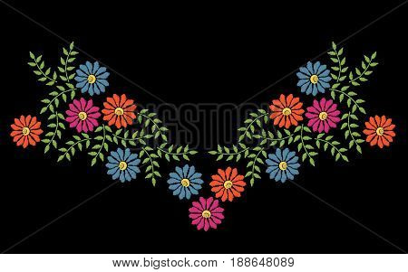 Colorful embroidery stitches imitation neck line frame with folk flower and leaf. Floral wreath on black background. Embroidery vector.
