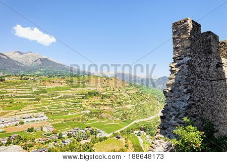 Ruins Of Walls At Tourbillon Castle In Sion Valais Switzerland
