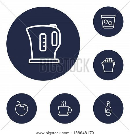 Set Of 6 Beverages Outline Icons Set.Collection Of Ice, Champagne, Hot Drink And Other Elements.
