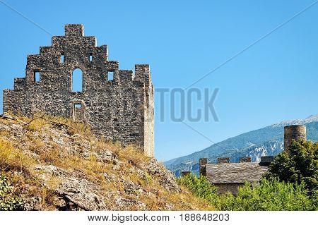 Ruins Of Tourbillon Castle On Hill In Sion Valais Switzerland