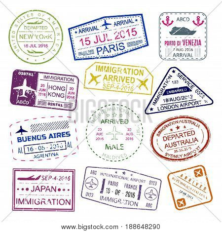 Passport Stamp Images Illustrations Vectors Passport