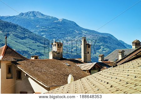 Roof And Chimneys Of Buildings At Sion Valais Switzerland