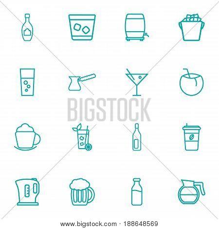 Set Of 16  Outline Icons Set.Collection Of Hotdrink, Lime, Ice And Other Elements.
