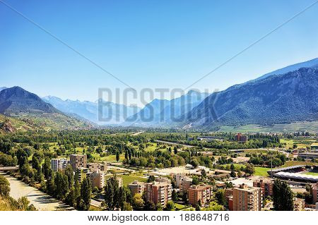 Landscape At Sion With Rhone River