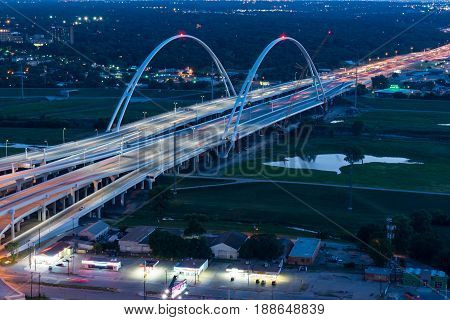 DALLAS, TX - MAY 13, 2017: Margaret Mcdermott Bridge over the Trinity river along interstate 30 in Dallas Texas