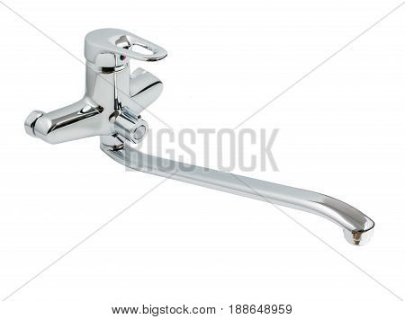 Silver chrome or nickel bathroom faucet water tap isolated on a white background close up.