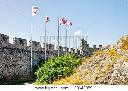 Flags In Tourbillon Castle In Sion Valais Switzerland