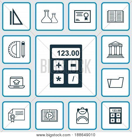 School Icons Set. Collection Of Document Case, Haversack, Certificate And Other Elements. Also Includes Symbols Such As Electronic, Success, File.