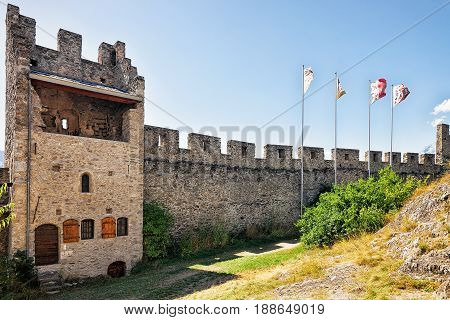 Flags At Tourbillon Castle In Sion Valais Switzerland