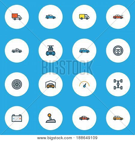 Car Colorful Outline Icons Set. Collection Of Cabriolet, Machine, Auto And Other Elements. Also Includes Symbols Such As Sport, Accumulator, Gear.
