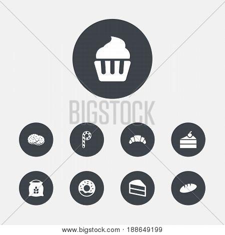 Set Of 9 Pastry Icons Set.Collection Of Doughnut, Loaf, Muffin And Other Elements.