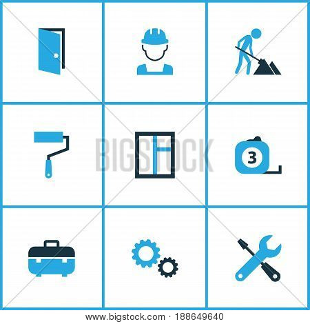 Industry Colorful Icons Set. Collection Of Screwdriver, Gear, Case And Other Elements. Also Includes Symbols Such As Screwdriver, Maintenance, Team.