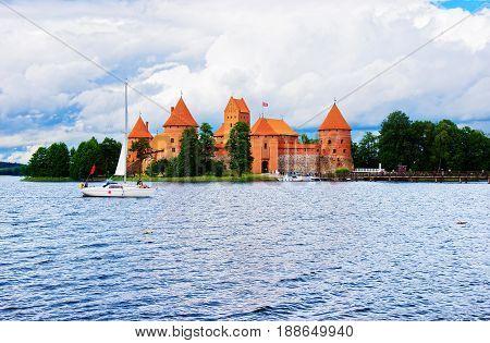 People In Boats On Galve Lake Trakai Island Castle