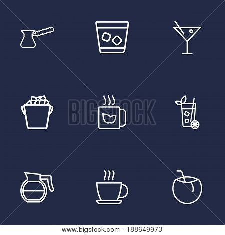 Set Of 9  Outline Icons Set.Collection Of Pot, Cocktail, Lime And Other Elements.