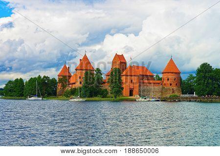 People And Sailing Boats On Galve Lake Trakai Island Castle