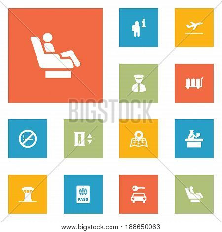 Set Of 12 Aircraft Icons Set.Collection Of Air Traffic Controller, Automobile, Lift And Other Elements.