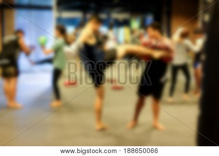 Abstract blur Thai boxing training in the gym (Muay-Thai)