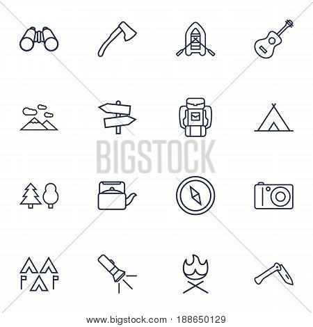Set Of 16 Picnic Outline Icons Set.Collection Of Bonfire, Forest, Compass And Other Elements.