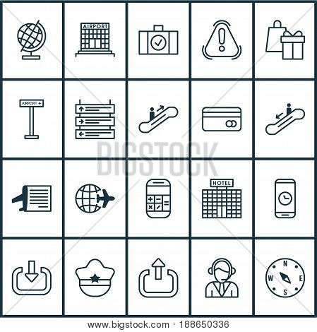 Traveling Icons Set. Collection Of Locate, Operator, Enter And Other Elements. Also Includes Symbols Such As Sphere, Shopping, Worldwide.