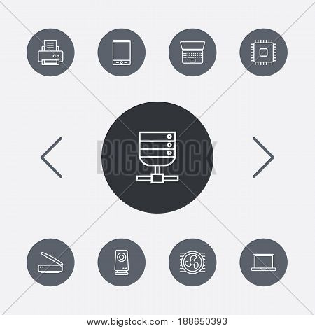 Set Of 9 Laptop Outline Icons Set.Collection Of Printer, Speaker, Notebook And Other Elements.