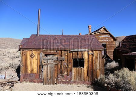 Old house in Bodie Ghostetown, California, America