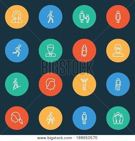 Person Outline Icons Set. Collection Of Jogging, Team, Graybeard And Other Elements. Also Includes Symbols Such As Happiness, Female, Businessman.