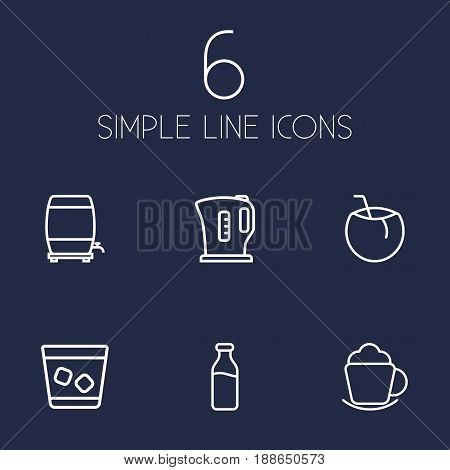 Set Of 6 Drinks Outline Icons Set.Collection Of Kettle, Ice, Glass And Other Elements.