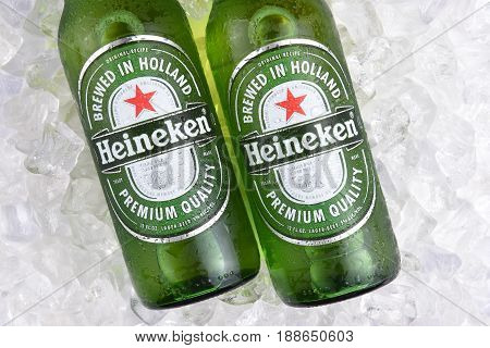 IRVINE CA - MAY 29 2017: Heineken Beer bottles closeup. Since 1975 most Heineken beer has been brewed at the brewery in Zoeterwoude Netherlands.