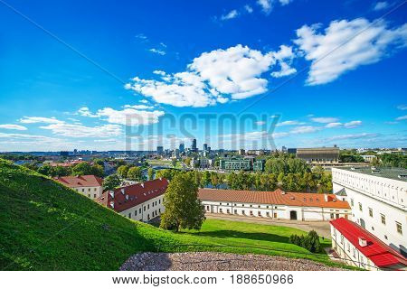 Old Arsenal Courtyard And Financial District With Skyscrapers Of Vilnius