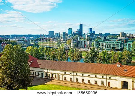 Old Arsenal And Financial District With Skyscrapers Of Vilnius