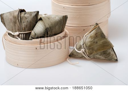 Zongzi In Round Bamboo Crate