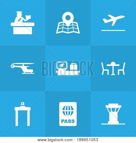 Set Of 9 Aircraft Icons Set.Collection Of Leaving, Luggage Check, Chopper And Other Elements.