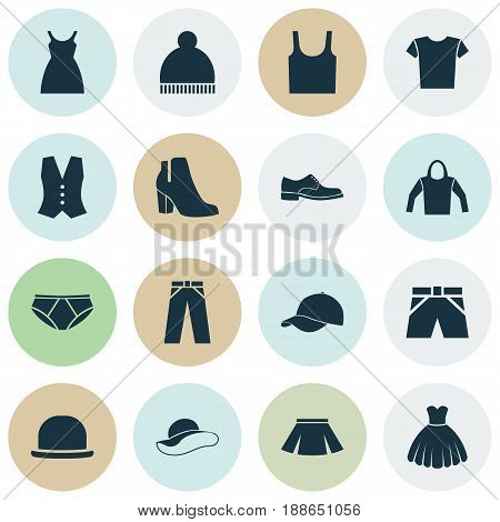 Clothes Icons Set. Collection Of Casual, Beanie, Stylish Apparel And Other Elements. Also Includes Symbols Such As Apparel, Sarafan, Trunks.