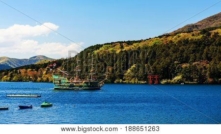 Pirate Tourist Ship At Hakone  Torii Gate