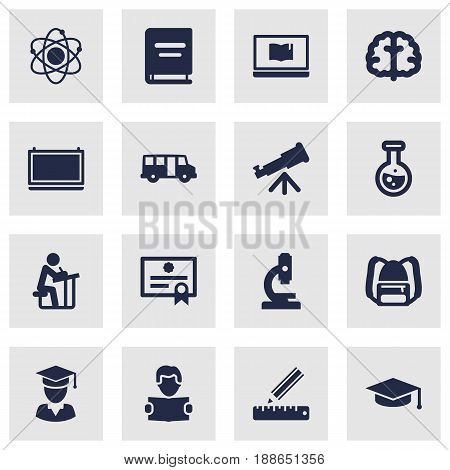 Set Of 16 Science Icons Set.Collection Of School Autobus, Marrow, Binoculars And Other Elements.