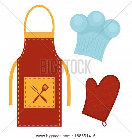Kitchen set with apron, cook cap, potholder. Clothes for cooking, restaurant concept. Chef's uniform. Isolated on white background. Vector illustration