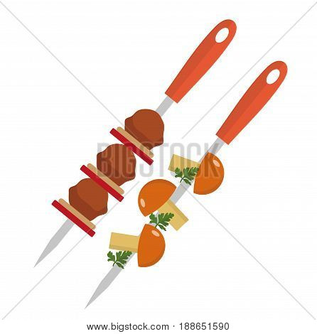 Shish kebab on skewers with pork and mushrooms icon, flat style. Isolated on white background. Vector illustration