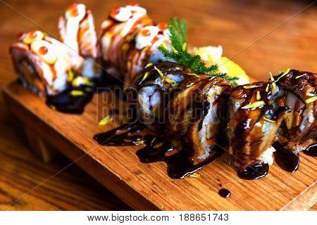 Eel And Salmon Sushi Rolls