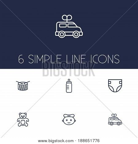 Set Of 6 Baby Outline Icons Set.Collection Of Diaper, Bottle, Teddy And Other Elements.