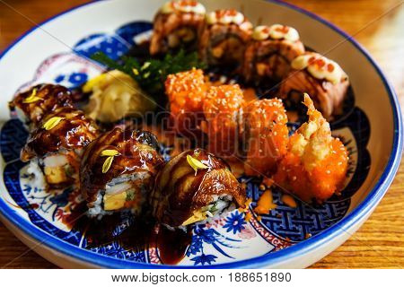 Variety Of Famous Sushi Rolls