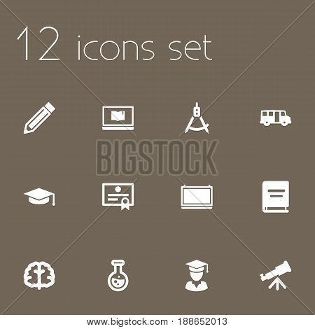 Set Of 12 Education Icons Set.Collection Of Marrow, Binoculars, Flask And Other Elements.